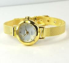 Women's Gold colour Stainless Steel Crystal Quartz Watch Jewellery