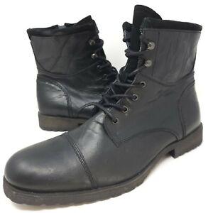 Aldo Men's Cap Toe Military Combat Boots Sz 12 Black Leather Lace Up Moto Boot