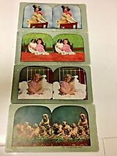 STEREOCARDS OF PUG DOGS AND CHILDREN  QTY 4