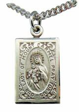 """Sterling Silver Scapular Our Lady of Mount Carmel 7/8"""" Medal w/ 18"""" Chain USA"""