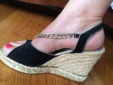 RICHARD TYLER ESPADRILLE WEDGES 6.5 MADE IN ITALY SUEDE BLACK SILVER CHAIN