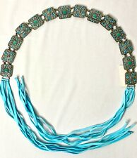 Southwest Silver Tone Concho Belt With Turquoise Leather Ties 46