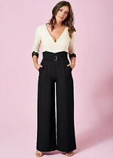 Contrast Bodice Wide Leg Evening Jumpsuit with Lace Sleeve Detail  (no Belt)