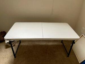 24 in. x 48 in. White Granite Adjustable Height Fold-In-Half Table