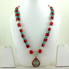 PENDANT NECKLACE NATURAL TURQUOISE RED QUARTZ GEMSTONE BEADED BEAUTIFUL 70 GRAMS