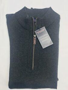 Roundtree & Yorke Mens 1/4 Zip Sweater Vest Charcoal Heather Cotton NEW
