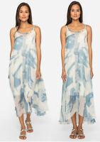 JOHNNY WAS Mercer Dress M Ivory Blue Summer Beach M NWT A line Summer SILK