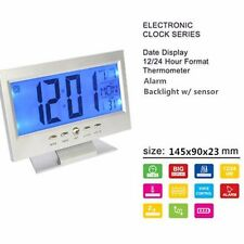 LCD Display Table Alarm Clock With Vibration Sensor and Thermometer - Silver