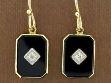 CE434 Genuine 9ct Yellow Gold Natural ONYX & Diamond  Mourning Drop Earrings