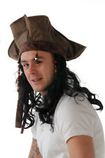 JACK SPARROW STYLE PIRATE FANCY DRESS HAT WITH WIG
