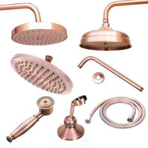 Antique Copper Round Shower Head Bath Shower Arm Hand Shower Head Showers Hose
