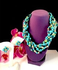 SENSATIONAL NIB JOAN RIVERS 3 STRAND TURQUOISE TORSADE BEAD NECKLACE EARRING SET