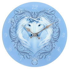 Stunning Anne Stokes Unicorn Glass Wall Clock - Unicorn Heart - 34cm