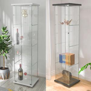 "4-Shelf Glass Curio Display Cabinet Tower Bookshelf Rectangular 64"" x 17""x 14.5"""