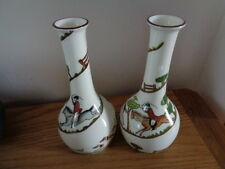 CROWN STAFFORDSHIRE HUNTING SCENE PAIR OF BUD VASES