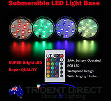 """4x 10 LED Party/Vase Underwater lights 2.8"""" with remotes"""