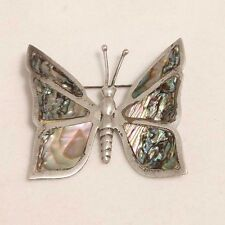 Abalone Butterfly Brooch Pin Vintage Taxco Sterling Silver