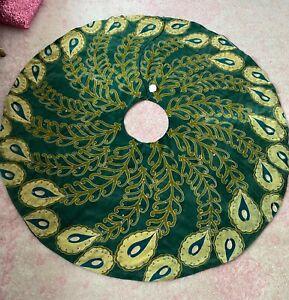 """NWT Anthropologie Velvet Peacock Beaded Embroidered Christmas Tree Skirt 60"""""""