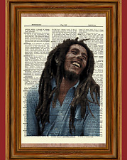 Bob Marley Dictionary Art Print Poster Picture Vintage Gift Musician Collectible