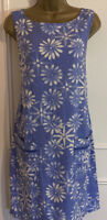 New NEXT Woman's Linen Shift Dress Size 8 Blue Floral Design Summer Pretty Daisy