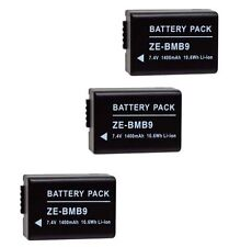 THREE 3X DMWBMB9 DMWBMB9E DMWBMB9PP Batteries for Panasonic FZ40 FZ45 FZ47 FZ100