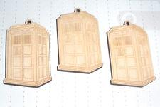 Caja De Teléfono Retro Tardis madera contrachapada Cabujón encantos X 3 Kawaii Kitsch