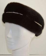 Real Mahogany Mink Fur Headband with Rhinestones New  (made in the U.S.A.)