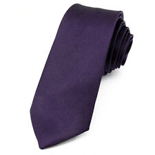 CRAVATE Slim 5 cm Satin Violet foncé - Dark Purple Plain Men Necktie - Cravatte