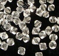 1000  Crystal Bicone 4mm Kunststoff Perlen Doppelkegel Acryl Schmuck BEST D810