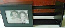 Sliding Wood Photo Box bookshelf 5 photo storage racks black features 1 photo