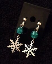 Frozen Clip On Earrings Snow Flake Blue Glitter Beads Kids Elsa Earrings Olaf