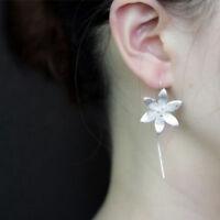 Women New 925 Silver Plated Long Drop Dangle Tassel Hook Earrings Ear Jewelry