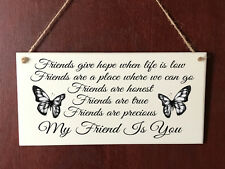 Hand Made DELUXE Plaque Best Friend Shabby Gift Present Sign Plaque Chic