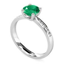 Natural Round 2.18 Ct Emerald Gemstone Rings White Gold Finish Silver Size M O.5