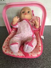 Geoffrey You And Me 15'' Doll 16215 With Car Seat / Carrycot Laughs Cries