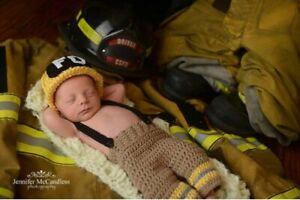 Newborn Firefighter Outfit Newborn Photography Prop Crochet fireman helmet Pants