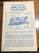 Original Lionel No. 3927 Track Cleaning Car Operating Instructions Handbill