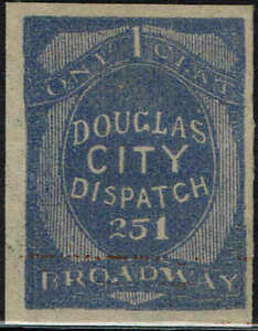 """#59L6-IMPERF REMAINDER 1879 """"DOUGLAS CITY DESPATCH"""" LOCAL STAMP ISSUE--MINT-NG"""
