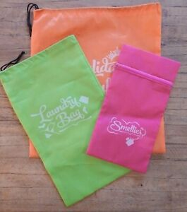 3 Holiday Travel bags Drawstring Laundry Holiday stuff Zipped Beach UK seller