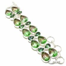 """Bi-Color Tourmaline, Peridot Gemstone Ethnic 925 Silver Bracelet 7-8"""" AK"""