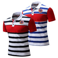 New Polo Shirt Mens Short Sleeve Striped Cotton T Shirt Embroidered Polo Shirts