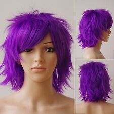 New UNISEX Male Female Cosplay Short Wig Blue Black Orange Straight Full Wigs sc