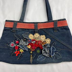 Retro Funky Blue Denim Handbag Shoulder Carry Bag Jeans Upcycled Embellished