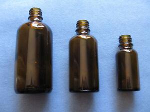 8 x Tropfflaschen DIN 18 Braun Glas Flasche Tropf Tropfeinsatz 20ml 50ml 100ml