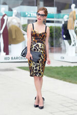 Topshop Leopard Animal Bodycon Corset Midi Pencil Wiggle Dress Size 8 Bloggers