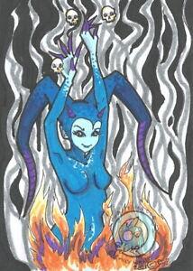 Hot Heads Cartoon Demon Nymph skulls Original Fantasy ACEO Illustration art ejw