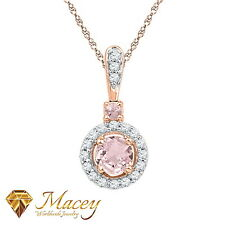 10 Quilates Oro Rosa Rosa Hermosa Morganita Blanco 1 Diamante Colgante Collar