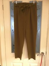 Ladies Clothes Size 10 Topshop Green Paperbag Trousers (589)
