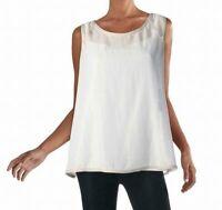 Alfani Womens Blouses True White Size XL Scoop-Neck Sheer Sleeveless $59 545