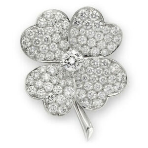 Weihnachten 2.60ctw Natürlich Rund Diamant 14K Weißgold Hochzeitstag Brosche